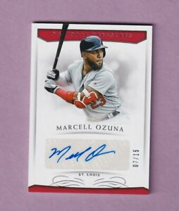 2018 PANINI NATIONAL TREASURES MARCELL OZUNA AUTO CARD - #7/15 - RARE! CARDINALS