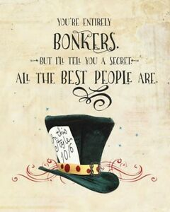 Inspirational Quote Alice In Wonderland A4 Card Poster Print Picture Wall Art