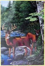 Evergreen Big GARDEN FLAG Satin WHITE TAIL DEER Nature 29 x 43 inches NEW in Bag