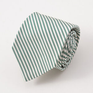 New $295 KITON NAPOLI 7-Fold Ivory and Forest Green Striped Twill Silk Tie