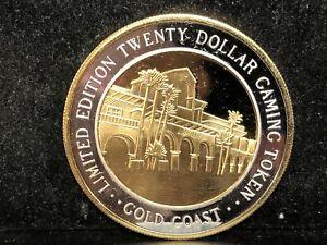 Gold Coast Casino 999 Pure Silver Casino $20 Gaming Token