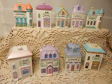 Nine 1989 Lenox Spice Village Set of 9 Houses Porcelain Victorian Condiment Jars