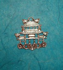 Vintage Sterling Silver Asian Pagoda Temple Charm or Pendant 925