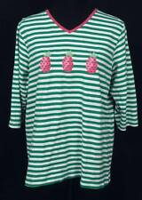 cute beaded pink pineapple embroidered QUACKER FACTORY green stripe top ladies L