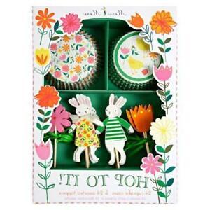Meri Meri Hop To It! Easter Cupcake Kit Cases & Toppers Bunny Rabbit Flowers
