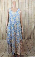 ANOHKI Womens Size Small Floral Cotton Sleeveless Indian Maxi Dress Layered Hem