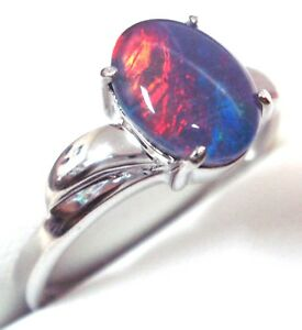Fire Opal NSW of Australian Opal Ring For Sale Natural Black Triplet Opal Ring