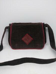 Craft Link Purse / Messenger Bag Black/Red Trim Embroidered  12.5x15.5 Vietnam