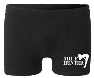 Milf Hunter Boxer Divertente Personalizzato Uomo Nero
