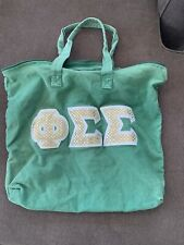 Phi Sigma Sigma Green And Sequin Gold Lettered Zip Tote