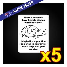 Funny Turtle Parking Prank Stickers *5 PACK*   - Car Family Window Race Drift GT