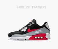 Nike Air Max 90 Essential Wolf Grey Black White Bright Crimson Men's Trainers