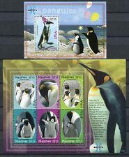 MALEDIVEN MALDIVE 2007 Pinguine Penguins Antarktis 4613-4618 + Block 615 **