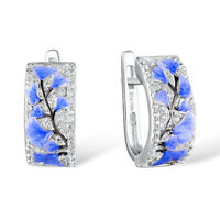 Fashion Blue Twigs Leaves CZ Hoop Earrings 925 Silver Women Wedding Jewelry Gift