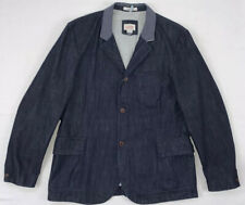 lands end canvas denim blue jean reflective chore coat blazer jacket sz 46