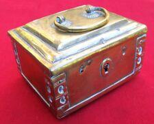 RARE SMALL 1700s BRASS COPPER IRON DESIRABLE SIZE LOCK BOX