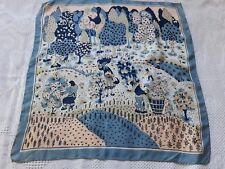 N47 Foulard carré en soie 54x57cm scène champêtre VINTAGE 70 squared silk scarf