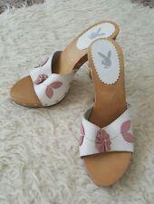 Playboy Womans White & Pink flower Heel Mule sandels Sze 6
