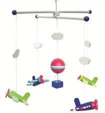 3D Holz-Mobile Baby Kinder-Zimmer Babyzimmer Wolken Sterne Braun Grau Weiss Deko