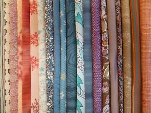 Japanese Kimono Fabric, Scrap Remnants, 20 piece Bundle