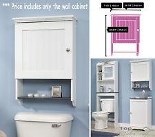 Bathroom Storage Wall Cabinet Mounted Linen Towel Toilet Wood Cupboard Organizer