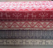 Grey - Red 4 FQ Bundle Scandinavian Christmas Fabric Material  100% Cotton