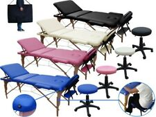 Portable Folding Massage Bed Table 3 section + salon beauty Stool chair Rolling
