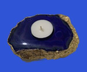 Agate Tea-light Candle Holder-Blue