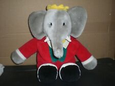 """Vintage 1988 GUND Babar the Elephant Soft Plush w/ red outfit 14"""" Tall"""