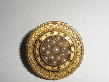 Antique Victorian MOURNING BROOCH 14K Gold PEARLS  Jewelry