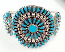 Navajo Turquoise Cluster Sterling Silver Cuff Bracelet By: Violet Begay