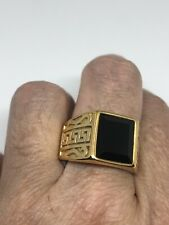 Vintage Onyx Golden Stainless Steel Size 12 Men's Ring