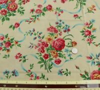 """Vintage Pretty c1940 Roses & Mixed Floral Bouquet & Ribbons Cotton Fabric~23""""Sq"""