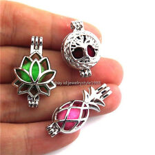 21621 3X/set Mixed Silver Tree Pineapple Lotus Pearl Bead Cage Locket Bulk Sale