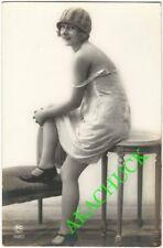 1920s French RPPC Photo Risque Erotic Jazz Age Flapper in Silk Slip PC PARIS