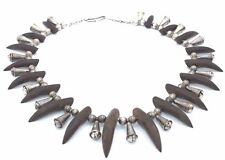 STUNNING Vtg NAVAJO Sterling Silver WOOD CLAW Bell BEAD TRIBAL Necklace