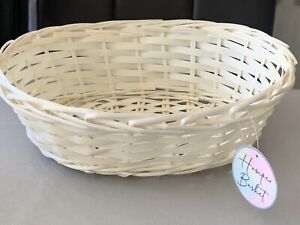 Set of 2 Medium White Handwoven oval Wicker Hamper Baskets Easter Birthday gifts