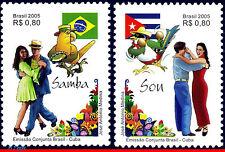 2967-68 BRAZIL 2005 SAMBA, CUB SON, FLAGS, JOINT ISSUE, DANCE RHM C2627-28 MNH
