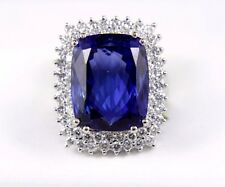 Fine Huge Radiant Tanzanite Ring w/Double Diamond Halo 14k White Gold 24.17Ct