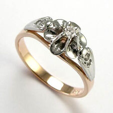 RUSSIAN STYLE DIAMOND ENGAGEMENT RING 14K ROSE & WHITE GOLD .30 ct