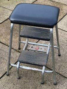 Original Vintage Retro Hailo Klettermax Kitchen Step Stool with Padded Seat