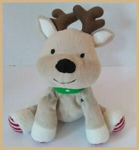 """Carters Baby Plush Reindeer 7"""" Soft Toy Precious Firsts Stripe Feet 63044 2012"""