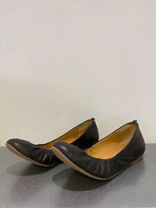 J Crew Black Leather Gathered Round Toe Flat Style Classic Folding Pumps UK 6