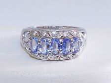 GORGEOUS! RARE 1.35cts! Tanzanite Oval Cluster Ring, Solid Sterling Silver 925!!