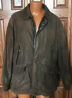TRASHED RAINFOREST MENS XL COAT JACKET BROWN MICRO SUEDE ZIPIN  LINER LEATHER