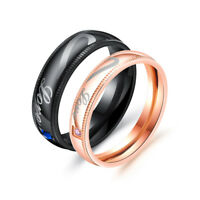 New Stainless Steel Couples Ring Love Heart Promise Engagement Wedding Ring