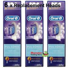 6 X ORAL B PULSONIC ELECTRIC TOOTHBRUSH REPLACEMENT SPARE BRUSH HEADS GENUINE