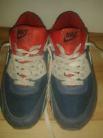 Mens Trainers - Nike - Nike Air Max - Blue & White With Red - Size 4 UK / 6.5 US