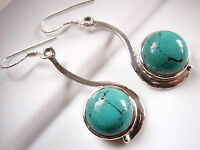 New Round Turquoise 925 Sterling Silver Dangle Drop Earrings New