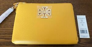 NWT TORY BUCH NEW $225 Yellow Pebble Leather Large Zip Pouch Wristlet
